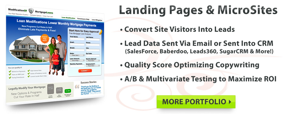Lead Generation, Landing Pages, Microsites, SEM!